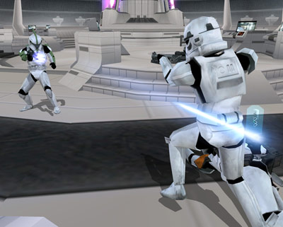 An anti trooper and a stormtrooper fighting inside tipoca city