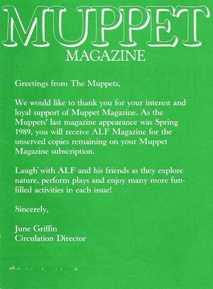 MUPPET MAGAZINE END NOTICE