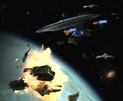 USS Venture destroys orbital weapon platform