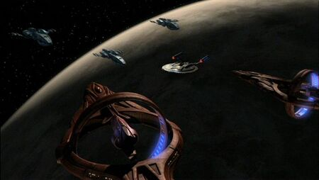 Andorian warship-Enterprise-Vulcan cruiser standoff