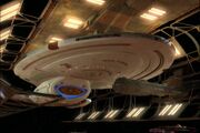 USS Voyager in drydock