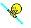 Double Bladed Lightsaber Smiley Cyan