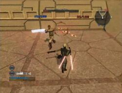 Asajj throwing Starblades to Obi-Wan