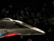 Delta Flyer II in an asteroid field