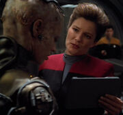 Kathryn Janeway helps Seven