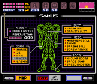 Super Metroid Inventory Screen