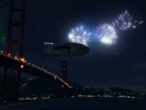 USS Voyager over Golden Gate Bridge