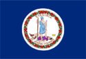 =Navy blue flag with the circular Seal of Virginia centered on it.