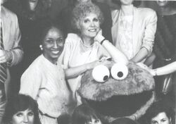 Anna Jane Hays and Cookie Monster