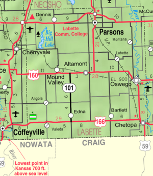 Map of Labette Co, Ks, USA