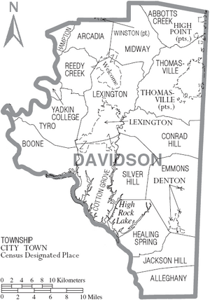 Map of Davidson County North Carolina With Municipal and Township Labels