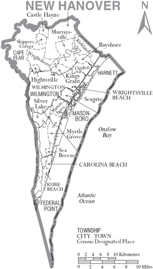 Map of New Hanover County North Carolina With Municipal and Township Labels