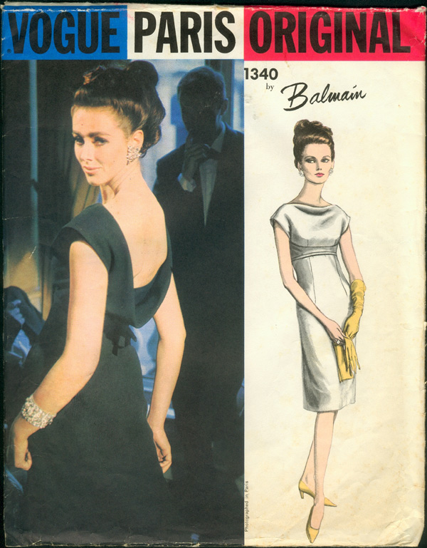 Vogue 1340 1960s evening dress Pierre Balmain Vogue pattern