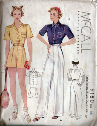 McCall 9180 1930s Slacks, shorts, and shirt pattern for tennis