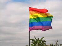 Rainbow flag flapping in the wind