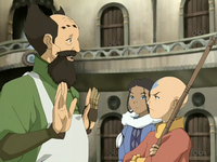 Aang displeased with the mechanist