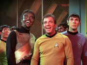 Kang, Sulu, Kirk, Spock in engineering