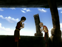 Zuko and Aang bow