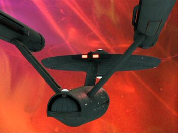 USS Enterprise maintaining impulse thrust