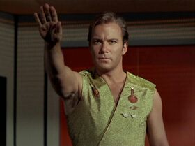 Kirk salutes to his crew