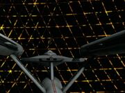 USS Enterprise and Tholian web - aft, remastered