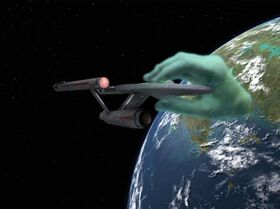Apollo&#39;s hand grips the Enterprise, remastered