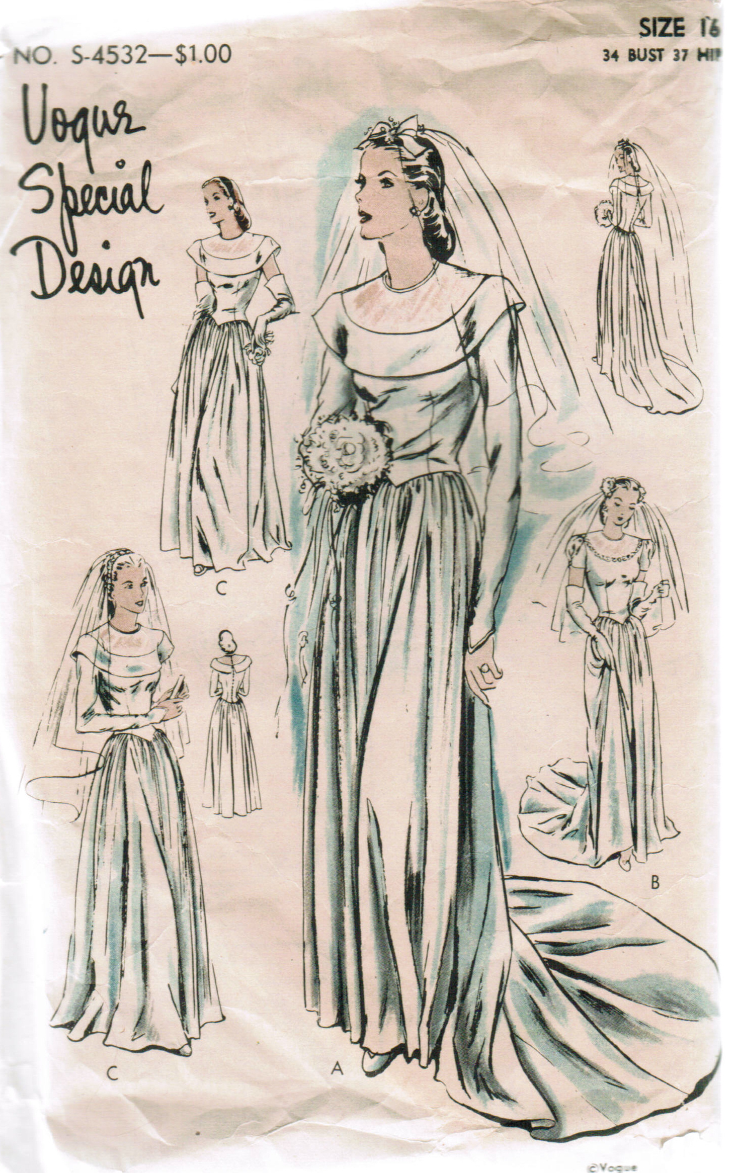 1940s Vogue Special Design wartime bridal pattern S-4532