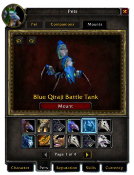 Pets tab-Mounts