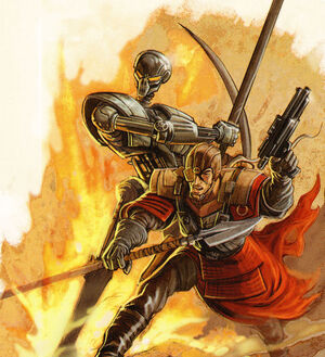Krath warrior and droid