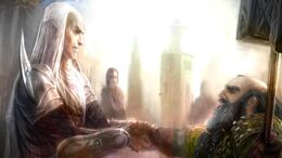 Elf Glorfindel and Dwarf Gloin