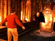 Quirinus Quirrell and Harry Potter at the Philosopher&#39;s Stone Chamber