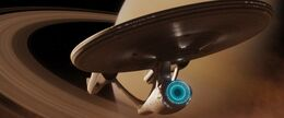 USS Enterprise (alternate reality) hides in Saturn's rings