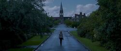 Hermione walking alone (possibly to their homeplace or in Godric&#39;s Hollow)