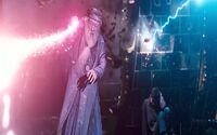 Dumbledore fighting Voldemort in the Duel in the Ministry Atrium