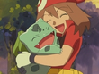 EP349 Aura abrazando a Bulbasaur