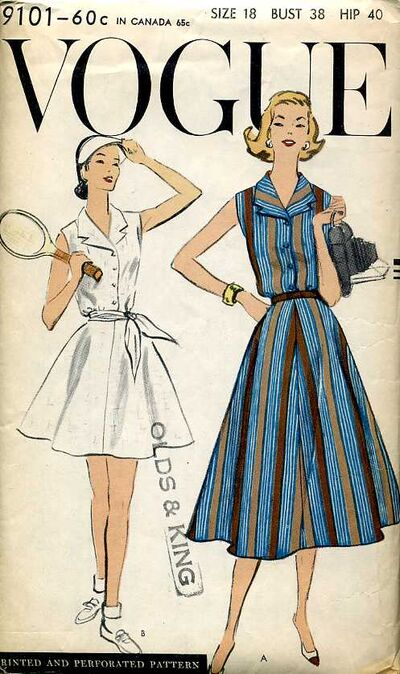 Vogue 9101 1950s tennis dress and shorts pattern