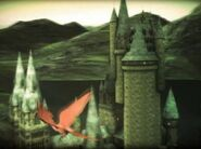 Fawkes flying outside Hogwarts Castle