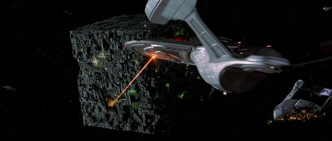 USS Enterprise-E engages Borg at 001