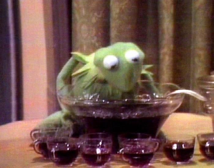 Muppets imbibing alcohol - Muppet WikiKermit Drinking Wine