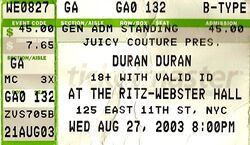 Duran ticket ritz new york