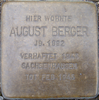 August Berger Stolperstein tom