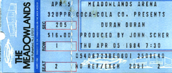 Duran duran ticket 5 april 1984