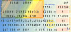 Duran duran ticket 4 feb 84
