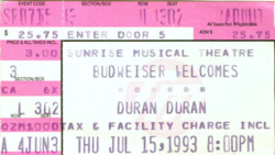 Ticket duran duran 15 july 93