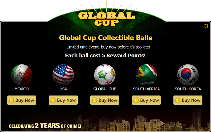 Global Cup Collectible Balls Popup