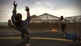Isabela shoots a zombie on helipad