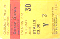 Ticket duran gaunmont southhampton 30 june 8182