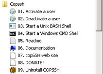 CopSSH Shortcuts on Windows