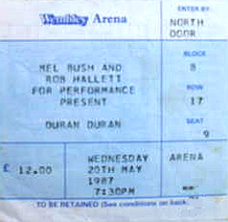 Ticket duran duran wembley 20 may 1987