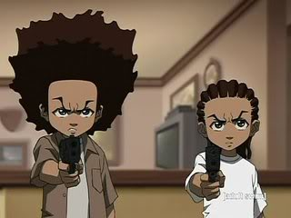 Huey and Riley with guns jpgThe Boondocks Huey With Gun
